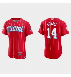 Miami Marlins 14 Adam Duvall Men Nike 2021 City Connect Authentic MLB Jersey Red