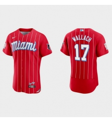 Miami Marlins 17 Chad Wallach Men Nike 2021 City Connect Authentic MLB Jersey Red