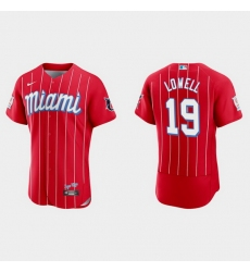 Miami Marlins 19 Mike Lowell Men Nike 2021 City Connect Authentic MLB Jersey Red
