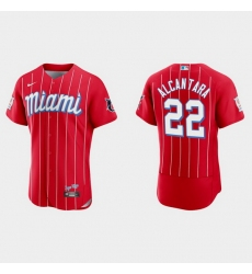 Miami Marlins 22 Sandy Alcantara Men Nike 2021 City Connect Authentic MLB Jersey Red