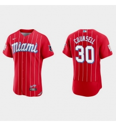 Miami Marlins 30 Craig Counsell Men Nike 2021 City Connect Authentic MLB Jersey Red