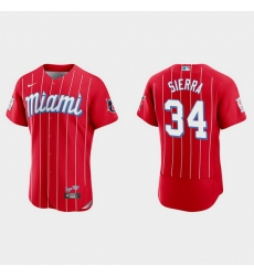 Miami Marlins 34 Magneuris Sierra Men Nike 2021 City Connect Authentic MLB Jersey Red