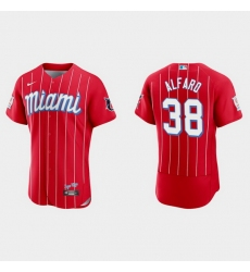 Miami Marlins 38 Jorge Alfaro Men Nike 2021 City Connect Authentic MLB Jersey Red