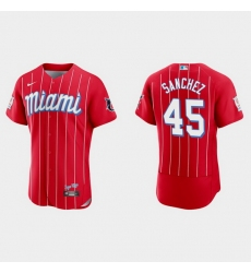 Miami Marlins 45 Sixto Sanchez Men Nike 2021 City Connect Authentic MLB Jersey Red