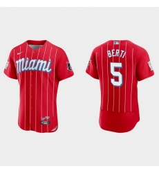 Miami Marlins 5 Jon Berti Men Nike 2021 City Connect Authentic MLB Jersey Red