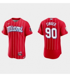 Miami Marlins 90 Adam Cimber Men Nike 2021 City Connect Authentic MLB Jersey Red
