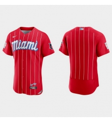Miami Marlins Men Nike 2021 City Connect Authentic MLB Jersey Red