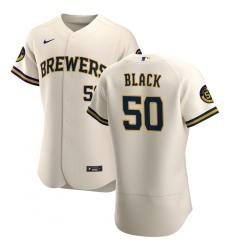 Men Milwaukee Brewers 50 Ray Black Men Nike Cream Home 2020 Flex Base Player MLB Jersey