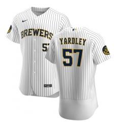Men Milwaukee Brewers 57 Eric Yardley Men Nike White Home 2020 Flex Base Player MLB Jersey