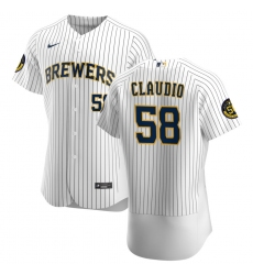 Men Milwaukee Brewers 58 Alex Claudio Men Nike White Home 2020 Flex Base Player MLB Jersey