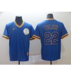 Men Milwaukee Brewers Christian Yelich 22 Navy Alternate MLB Jersey