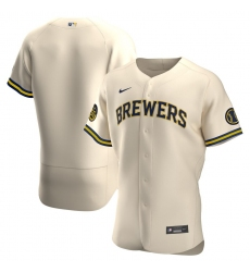 Men Milwaukee Brewers Men Nike Cream Alternate 2020 Flex Base Team MLB Jersey