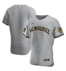Men Milwaukee Brewers Men Nike Gray Road 2020 Flex Base Team MLB Jersey