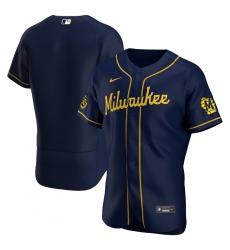 Men Milwaukee Brewers Men Nike Navy Alternate 2020 Flex Base Team MLB Jersey