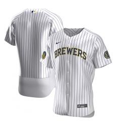 Men Milwaukee Brewers Men Nike White Home 2020 Flex Base Team MLB Jersey