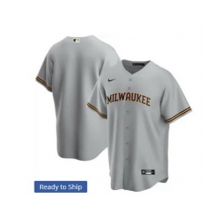 Men Milwaukee Brewers Nike Gray Blank Jersey