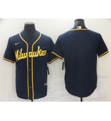 Men Nike Milwaukee Brewers Blank Navy Blue Stitched MLB Jersey
