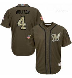 Mens Majestic Milwaukee Brewers 4 Paul Molitor Authentic Green Salute to Service MLB Jersey