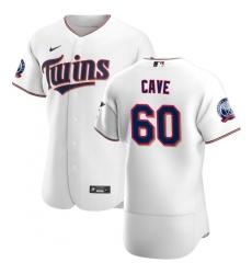 Men Minnesota Twins 60 Jake Cave Men Nike White Home 2020 60th Season Flex Base Team MLB Jersey
