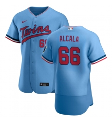Men Minnesota Twins 66 Jorge Alcala Men Nike Light Blue Alternate 2020 Flex Base Team MLB Jersey