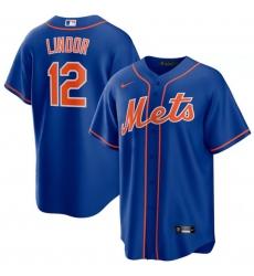 Men New York Mets 12 Francisco Lindor Royal Nike Cool Base Jersey
