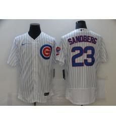 Men New York Mets 23 Ryne Sandberg White stripe Flex Base 2021 Nike MLB Jersey