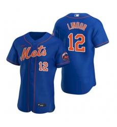 Men Nike New York Mets Francisco Lindor Blue Flex Base Stitched Jersey