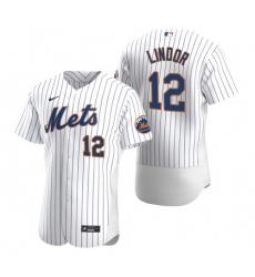 Men Nike New York Mets Francisco Lindor White Flex Base Stitched Jersey
