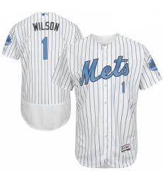 Mens Majestic New York Mets 1 Mookie Wilson Authentic White 2016 Fathers Day Fashion Flex Base MLB Jersey