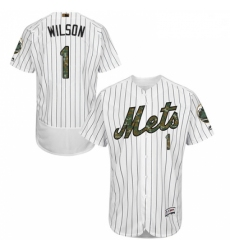 Mens Majestic New York Mets 1 Mookie Wilson Authentic White 2016 Memorial Day Fashion Flex Base MLB Jersey