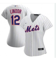 Women Nike New York Mets Francisco Lindor White Cool Base Stitched Jersey