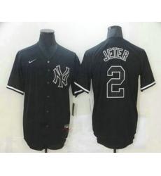 Men New York Yankees 2 Derek Jeter Black Fashion Stitched MLB Nike Cool Base Jersey