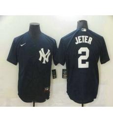 Men New York Yankees 2 Derek Jeter Navy Blue Stitched MLB Nike Cool Base Jersey