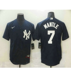 Men New York Yankees 7 Mickey Mantle Navy Blue Stitched MLB Nike Cool Base Jersey