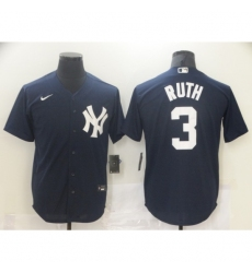 Men Nike New York Yankees Babe Ruth 3 Navy Road Flex Base Authentic Collection Jersey