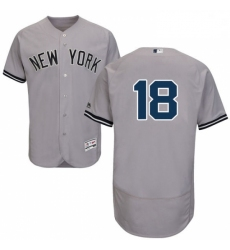 Mens Majestic New York Yankees 18 Don Larsen Grey Road Flex Base Authentic Collection MLB Jersey