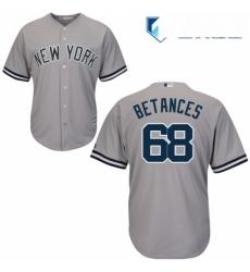 Mens Majestic New York Yankees 68 Dellin Betances Replica Grey Road MLB Jersey