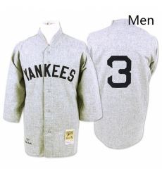 Mens Mitchell and Ness 1929 New York Yankees 3 Babe Ruth Replica Grey Throwback MLB Jersey
