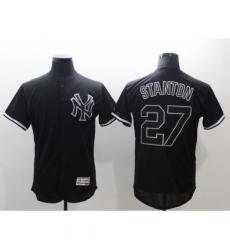 Men's New York Yankees #27 Giancarlo Stanton Authentic Black Fashion Baseball Jersey