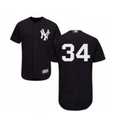 Mens New York Yankees 34 JA Happ Navy Blue Alternate Flex Base Authentic Collection Baseball Jersey