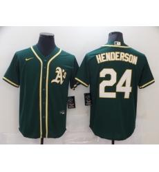 Men Nike Oakland Athletics 24 Rickey Henderson Green Home Stitched Baseball Jersey