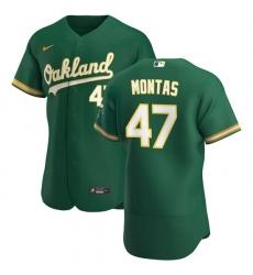 Oakland Athletics 47 Frankie Montas Men Nike Kelly Green Alternate 2020 Authentic Player MLB Jersey