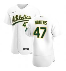 Oakland Athletics 47 Frankie Montas Men Nike White Home 2020 Authentic Player MLB Jersey