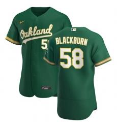 Oakland Athletics 58 Paul Blackburn Men Nike Kelly Green Alternate 2020 Authentic Player MLB Jersey