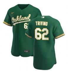 Oakland Athletics 62 Lou Trivino Men Nike Kelly Green Alternate 2020 Authentic Player MLB Jersey