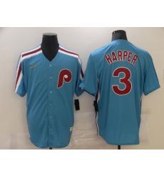Men Nike Philadelphia Phillies Bryce Harper 3 BLue 2020 Authentic Player MLB Jersey