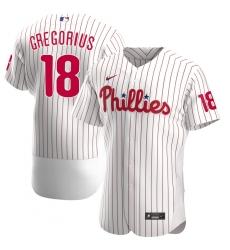 Men Philadelphia Phillies 18 Didi Gregorius Men Nike White Alternate 2020 Flex Base Player MLB Jersey