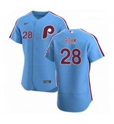 Men Philadelphia Phillies 28 Alec Bohm Men Nike Light Blue Alternate 2020 Authentic Player MLB Jersey
