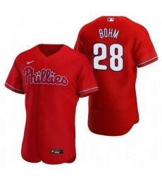 Men Philadelphia Phillies 28 Alec Bohm Red Alternate Jersey