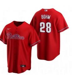 Men Philadelphia Phillies 28 Alec Bohm Red Alternate stitch Jersey